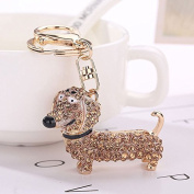 Bling Crystal Dog Dachshund Keychain Purse Pendant Car Holder Key Ring Jewellery champagne