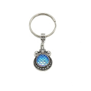 Natural opal Key ring stone mermaid charm cute keychain for women bag accessory NL07