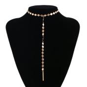 Tpocean Gold Chain Thin Sequins Beaded Long Tassel Pendant Choker Necklaces for Women Girls Teen