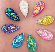 Mixed Colours Resin Teardrop Embellishment Flat Back Scrapbook Craft Cabochons Phone Wedding Hair Clips Decor DIY