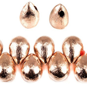 9x6mm Rose Gold plated Copper Brushed Tear Drop Beads 8 inch 52 pieces