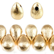 9x6mm 22kt Gold plated Copper Brushed Tear Drop Beads 8 inch 52 pieces