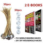 """CozYours 8"""" BEESWAX HEMP CANDLE WICKS WITH STICKERS, 50/50 pcs; ORGANIC & NATURAL; Thick Gauge 0.08"""" (2.0mm); 70 CANDLE MAKING HACKS + 291 DIY HOUSEHOLD HACKS E-BOOKS INCLUDED"""