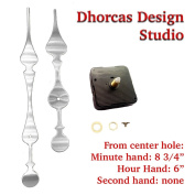 Dhorcas (#01S) 1.3cm Threaded Motor and Curvy Long Silver 22cm Hands, Quartz Clock Movement and Replacement Motor kit