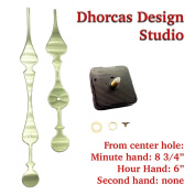 Dhorcas (#01G) 1.3cm Threaded Motor and Curvy Long Gold 22cm Hands, Quartz Clock Movement and Replacement Motor kit
