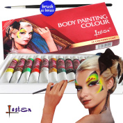 Lasten Body Painting Kit, 12 Colour Safe & Non-Toxic Face and Body Paint, Face and Body Art Make-up Set, Rich Pigment, Perfect for Face Painting at Children's Party