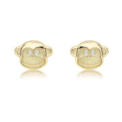 Carissima Gold 9ct Yellow Gold Cubic Zirconia Monkey Stud Earrings