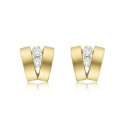 Carissima Gold 9ct Yellow Gold Cubic Zirconia 2 Band V-Shaped Earrings