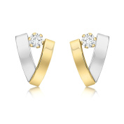 Carissima Gold 9ct 2 Tone Yellow and White Gold Cubic Zirconia 2 Band V-Shaped Earrings