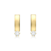 Carissima Gold 9ct Yellow Gold Cubic Zirconia Large Curved Band Earrings