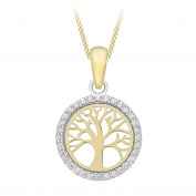 """Carissima Gold 9ct Yellow Gold Cubic Zirconia 'Tree Of Life' Pendant on Curb Chain of 46cm/18"""""""