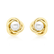 Carissima Gold Yellow Gold 9mm Knot and Pearl Stud Earrings