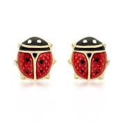 Carissima Gold Yellow Gold Enamel Ladybird Stud Earrings