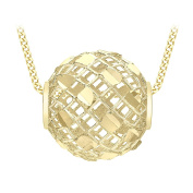 Carissima Gold 9ct Yellow Gold Diamond Cut Mesh Ball Pendant Necklace of Length 46cm