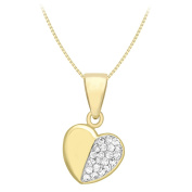 Carissima Gold 9 ct Yellow Gold 1/2 Cubic Zirconia Heart Pendant on Venetian Box Chain Necklace of 41 cm-46 cm41