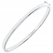 Citerna Rhodium Plated Sterling Silver Classic Square Tube Bangle of Diameter 65 mm