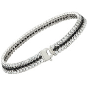 Citerna Sterling Silver and Rhodium Plated 3 Row Tennis Bracelet, Filled with Black Crystals of 18.5 cm