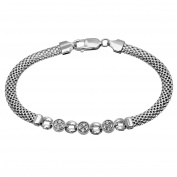 Citerna Sterling Silver Fine Mesh And 3 Cz Round Links Bracelet of Length 19.5 cm