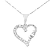 Citerna 9 ct White Gold Mum Heart Pendant Necklace with CZ Stones