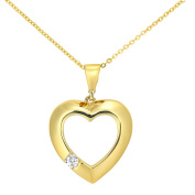 Citerna 9 ct Yellow Gold Heart Pendant Necklace with a CZ Stone