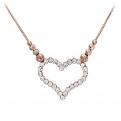 Citerna Sterling Silver and Rose Gold Plated Heart Necklace, Filled With Crystals of 46cm