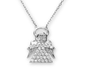 Citerna Sterling Silver Cubic Zirconia Angel Pendant and 42 cm Chain