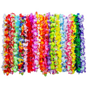 Shappy 36 Pieces Tropical Hawaiian Luau Flower Leis Necklaces for Beach Theme Party Supplies Decorations Favours Ornaments, 35 Colours