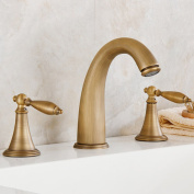 LDONGSH Retro Three Holes Copper Hot And Cold European Style American Style Satin Finish Wash Basin Electroplating Sitting Faucet