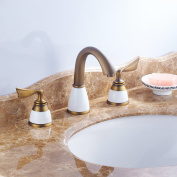 LDONGSH Copper Retro Three Holes Hot And Cold Basin European Style American Style Satin Finish Wash Basin Faucet
