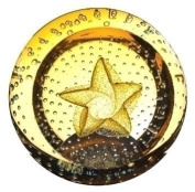Caithness Glass Piece Crystal Star Celebrations Paperweight, Gold