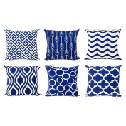 Top Finel Canvas Decorative Throws Pillows Cushions Covers Creative Pillowcase for Sofa Bedroom Set of 6, 46cm x 46cm , Navy