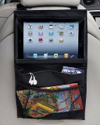 Car Backseat Organiser with iPad/Tablet Holder, 3 Pockets Clear PVC Touch Screen Devices Hanging Storage Bag Travel Cargo Mesh Pouch for Magazine Book Toy Snacks, Universal Fit for Car, Truck and SUV