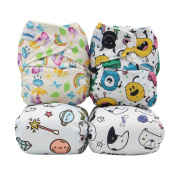 Baby Cloth Nappies Adjustable Pocket Nappy Washable Reusable 4pcs Cover+4pcs Inserts