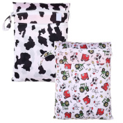 2 PCS Large Hanging Wet/Dry Cloth Nappy Double Zippered Bag for Reusable Nappies or Laundry