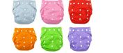 JKLcom Nappies Baby Cloth Nappies Adjustable Washable Reusable for Baby Girls and Boys One Size- 6 Pcs