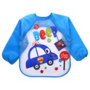 BestWare Baby Feeding Bib Waterproof Sleeved Bib Toddler Bib Cute Carton Car Bib Smock For Kids Blue