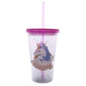 Puckator Unicorn Cute Kawaii Straw Lid Hard Plastic Cup Pink
