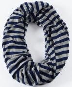 Loop-dee Heather Grey & Navy 1.3cm Stripe Nursing Infinity Scarf