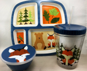 Fox & Bear Woodland Creature Plate, Cup & Snack Set