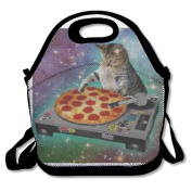Custom Space Cat Spinning Pizza Turntable Reusable Ziplock Crossbody Picnic Bag Design For Office Portable Lunch Box Cooler Back To School Lunch Bag Lunch Tote Bag Box For Boys Girls