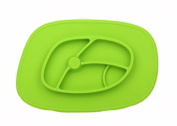 Happy Children Place Mat, Baby one-piece silicone placemat and plate suctions portable, Soft, Flexible Silicone Food Tray, 4 Colours