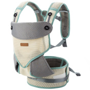Leke Summer Baby Carrier 360 All Carry Positions Soft Carrier for Newborn Baby, Grey