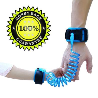 Anti Lost Wrist Link Safety Hook and loop Leash Hand Belt 8+ Feet (Blue)