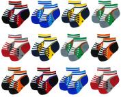 Liwely 12 Pairs Baby Boys Socks, Ankle socks for 3 - 12 Months Infants, Sneaker socks