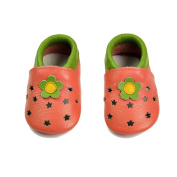 FYGOOD Baby Soft Sole Leather Toddler Prewalker Shoes for Summer red flower M:6-12months/inner length:12cm