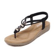 Ecurson Women Boho Rhinestone Flat Casual Comfy Thong Sandals (US:4.5