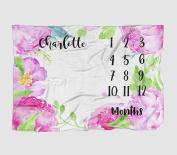 Month Milestone Baby Blanket - Hot Pink Floral Peonie Frame