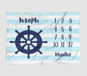 Month Milestone Baby Blanket - Watercolour Stripe Ships Wheel