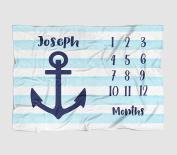 Month Milestone Baby Blanket - Watercolour Stripe Anchor