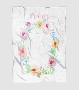 Pink and Coral Roses Floral Wreath Photography Blanket